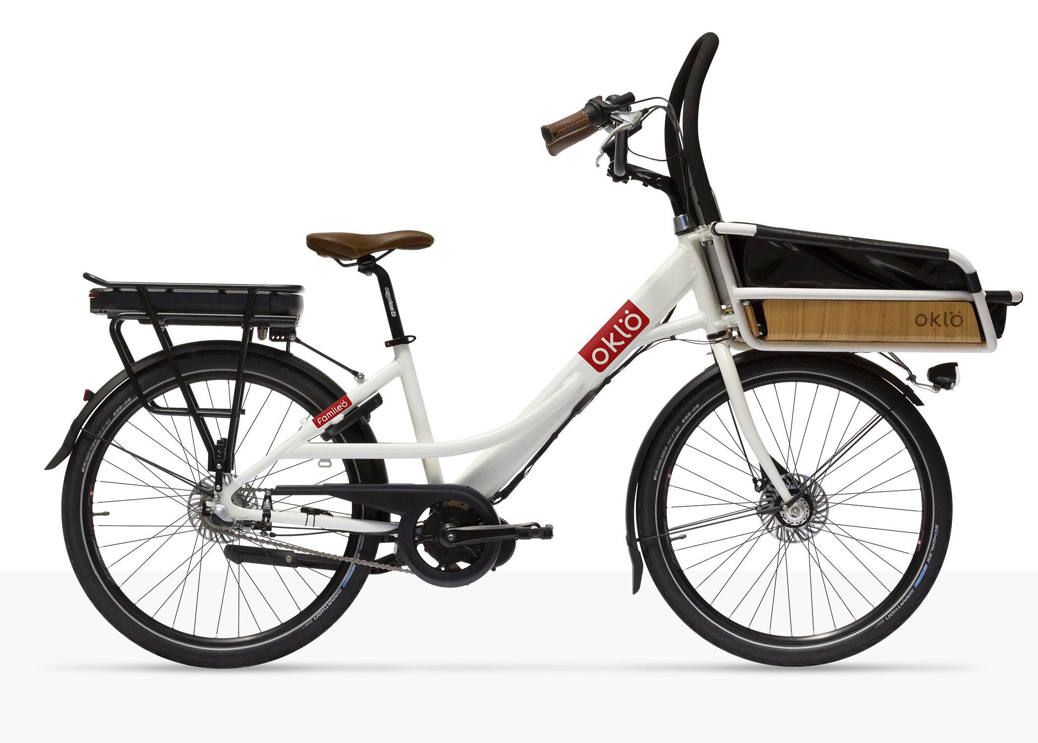 Le vélo Oklö est simple et robuste, aussi compact qu'un vélo de ville, mais il permet d'emporter jusqu'à 2 enfants, vos courses ou votre chien.