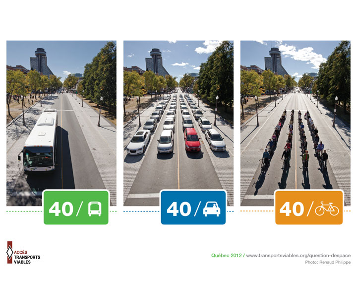 emprise au sol de 40 personnes dans un bus / dans des voitures / sur des vélos