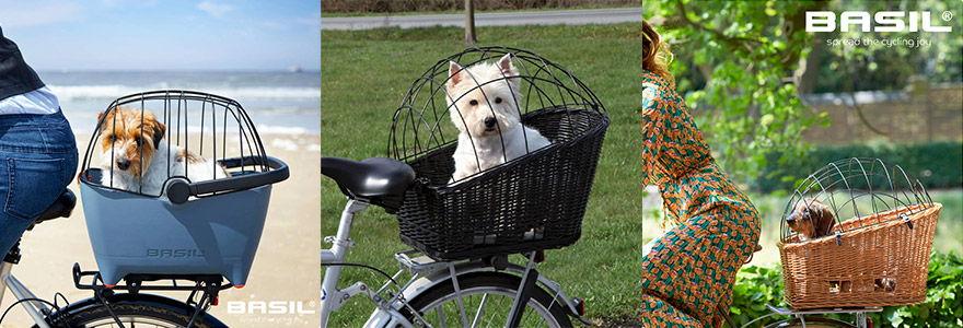 exemples de paniers pour chien sur porte-bagages