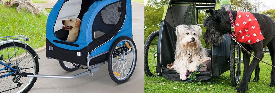 exemples de remorques à vélo pour chiens